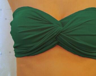 Shamrock Green Bandeau Top - Twisted Spandex Blend Swimsuit Bikini
