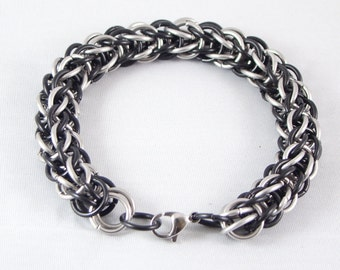 Silver and Black Stainless Steel Bracelet