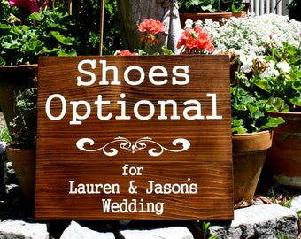SHOES OPTIONAL Wedding Sign with Your Names / Rustic Wedding Signs 16 x 19
