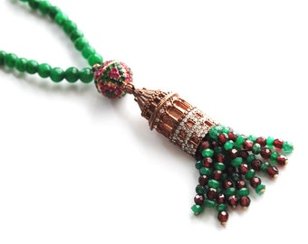 Lovely Turkish Emerald Necklace with  Ruby-Emerald Pendant