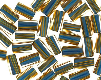 Furnace Glass Beads, Rich Blue with Brown Stripes, Small mixed size by Virginia Wilson Toccalino, 1 oz