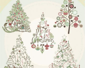 Christmas Tree Collection - Counted Cross Stitch Pattern Chart Instant Download