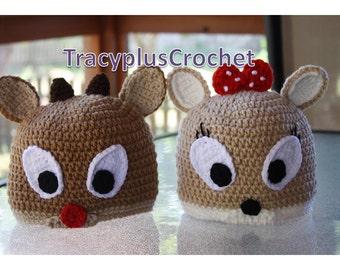 Rudolph hat. Clarice hat. Crochet Christmas Reindeer beanie/hat. Christmas deer hat. Reindeer hats. Handmade Christmas Reindeer hats.