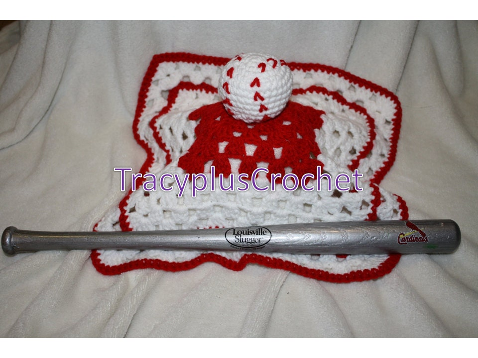 Crochet Baseball Security Blanket Baseball Lovey Blanket