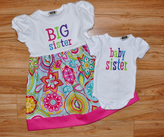 Online Wedding Gift For Sister : Big Sister Little Sister Outfits Set by RosieCheeksCreations