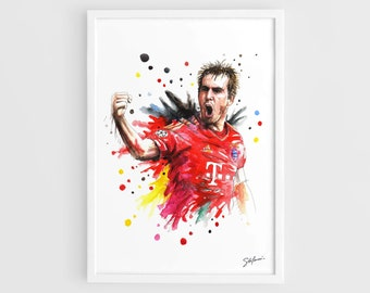 Philipp Lahm (Bayern Munich) - A3 Wall Art Print Poster of the Original Watercolor Painting Football Posters Soccer Posters