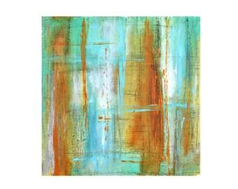 abstract painting orange blue aqua green turquoise original modern art pastel Hang Loose