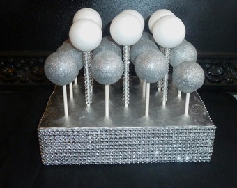 bling silver faux rhinestone foil top cake pop stand display cake pop holder bling lollipop treat pop stand lollipop holder lollipop display