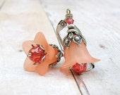Peach Trumpet - vintage style antique silver earrings