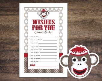 Instant Download Sock Monkey Baby Shower Games, Wishes for Baby Game Cards, Printable Wish For Baby Sheets, Boy Girl Monkey Baby Shower 30A
