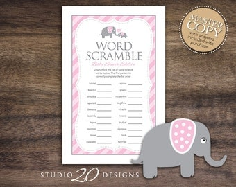 Instant Download Pink Elephant Word Scramble Baby Shower Game Cards, Printable Word Scramble for Girl, Pink Baby Elephant Word Game 22B