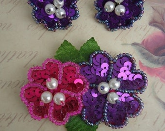 Sequin Earrings and Brooch