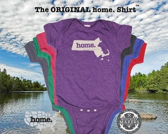 Massachusetts home Baby Bodysuit purple green pink blue green