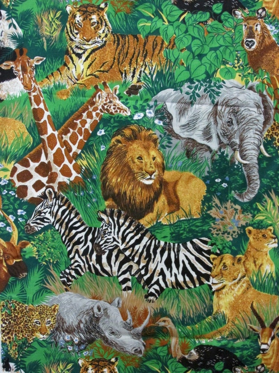 Wild Backyard Animals : yard fabric wild animals Cranston VIP print zebra giraffe lion