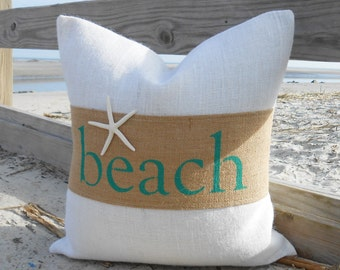 Beach or sand burlap & starfish pillow cover 18x18 natural and off white burlap