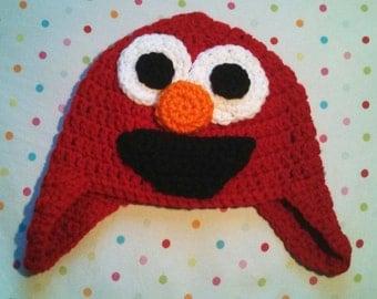 Handmade Crochet Baby Toddler Elmo Earflap Hat
