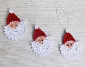 Crochet Santa Claus Face, Crochet Christmas Ornament Set of 3, Handmade Christmas Applique
