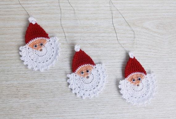 Crochet Santa Claus Face Crochet Christmas Ornament Set Of 3