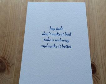 Letterpress typeset song lyrics - Beatles Hey jude