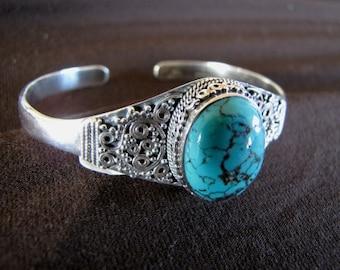 Sterling Silver Turquoise Bangle Bracelet