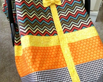 Car Seat Canopy Cover / Tent / Nursing Cover / Blanket- Chevron and Brown Houndstooth