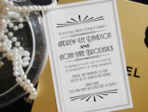 Great Gatsby Wedding Invitation: 1920's Great Gatsby Wedding Invitation Stamp By ThePrintMint