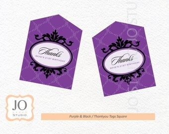 Purple & Black Themed Favour Tags / Thankyou Tags / 21st Birthday