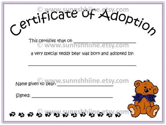 Certificate of adoption teddy bear stuffed animal by for Build a bear certificate template