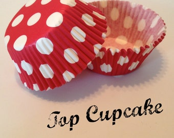 Red with White Polka Dot Cupcake Liners
