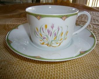 Limoges A. Reynaud et Cie Cup & Saucer, Art Nouveau