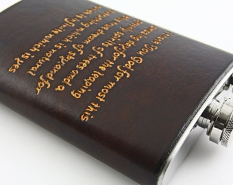Custom engraved Leather Flask Cover. Personalized with a poem.