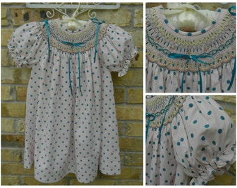 Free shipping...Girls Smocked  Dress, Perfect Spring and Summer Dress with Ribbons and Seed Pearls