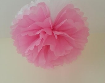 pink/white tissue paper pom poms decorations