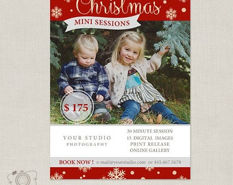 Christmas Mini Session Template - Photography Marketing Board 069 - C222, INSTANT DOWNLOAD
