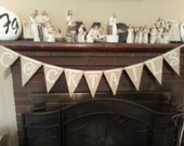 Hand Painted Burlap Banner with ribbon
