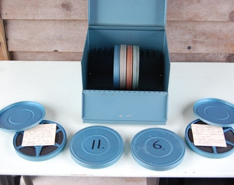Vintage Industrial Metal Film Storage Box, 1960's Blue With 8 Rolls Of Original 8 MM Film