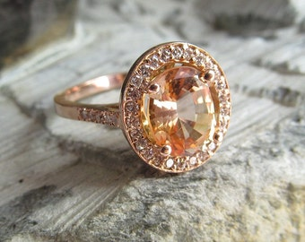 Peach champagne  sapphire engagement  ring,2.20 ct oval.