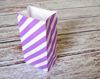 Party Favor Bags-10 Purple Striped SMALL Lunch Sack-Striped Party Favor Bags-Wedding Gift Bag-Striped Birthday Treat Bag-Lavender Goodie Bag