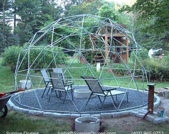 16 ft Geodesic Dome Garden Trellis, Over 9 ft High, Complete Kit