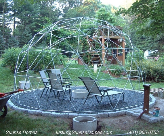 16 ft Geodesic Dome Garden Trellis Over 9 ft High Complete