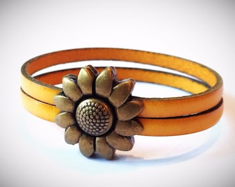Yellow 2-Strand Leather Bracelet with Antique Silver/Brass Flower Clasp