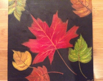 Fall Leaves, Original Painting - Oil on Canvas
