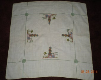 Vintage Petit Point Cross Stitched Oriental Pagoda Linen Tabletop measuring 35 x 35 Inches