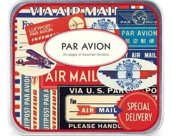 Cavallini Papers & Co. Par Avion Decorative Tin of Stickers, Vintage Air Mail Stickers