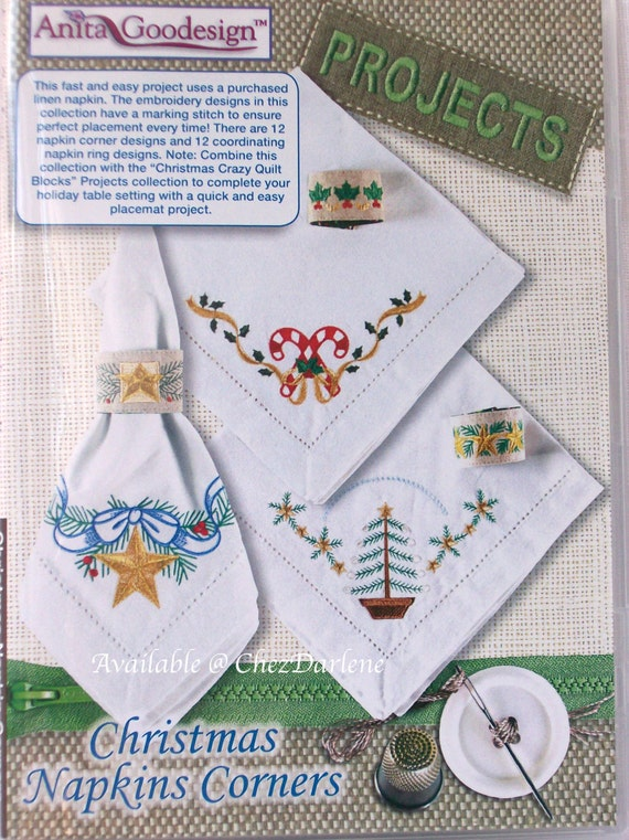 Machine embroidery christmas napkin ring designs in the
