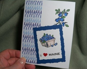 "I Love Maine"" Card, Handmade stamped, Blueberries from Maine card, Blueberry card, Stamped and hand colored Maine card with blueberries"