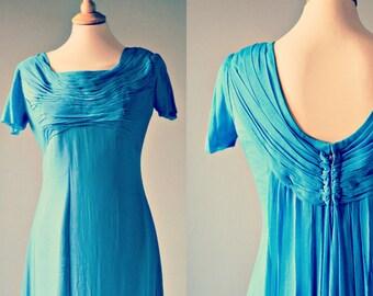 sale!!! 70s evening dress/ blue crepe chiffon