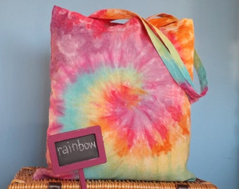 Tie dye eco tote bags in a spiral design