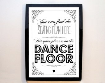 Seating Plan / Dance Floor - A4 wedding sign - vintage / rustic style