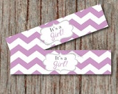 Water Bottle Labels Baby Shower Supplies It's a Girl Printable INSTANT DOWNLOAD Baby Shower Favors Water Bottle Labels Purple Chevron - 001